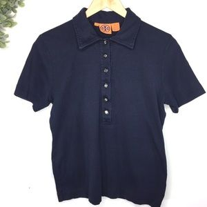 Tory Burch Navy Collared Polo Large